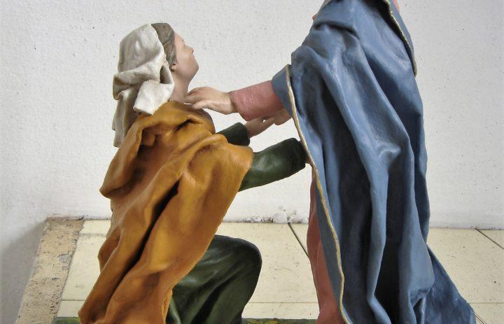 RESTAURO STATUE IN CARTAPESTA VISITA DI MARIA AD ELISABETTA (DOPO) (2)