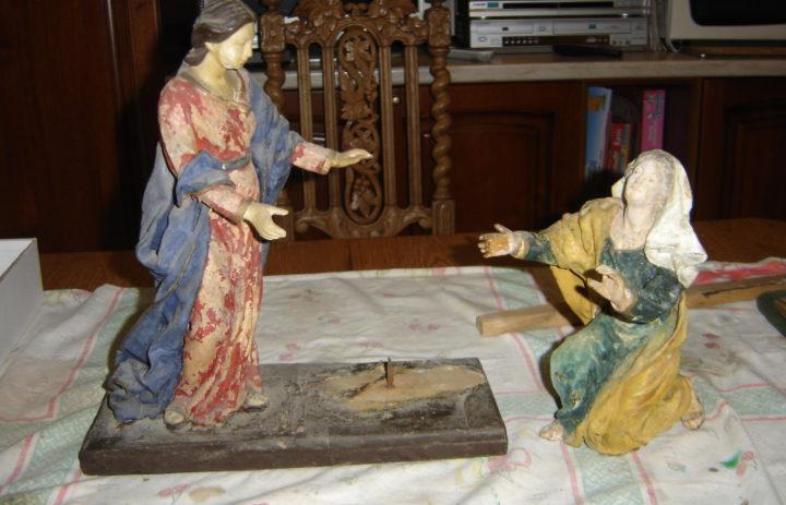RESTAURO STATUE IN CARTAPESTA VISITA DI MARIA AD ELISABETTA (PRIMA) (1)